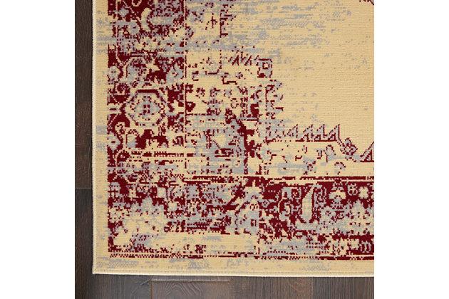 "Nourison Grafix 5'3"" x 7'3"" Center Medallion Rug, Cream/Red, large"