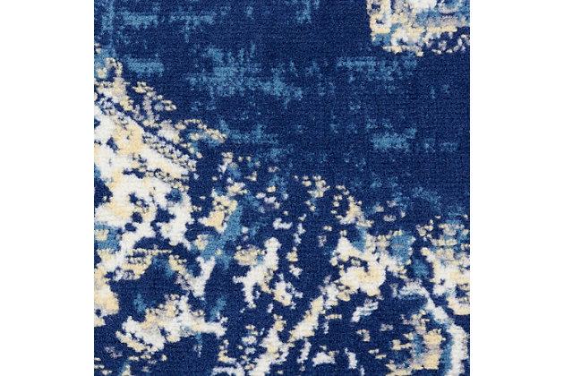 Nourison Grafix 4' x Round Center Medallion Rug, Navy Blue, large