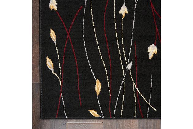 "Nourison Grafix 5'3"" X 7'3"" Botanical Rug, Black, large"