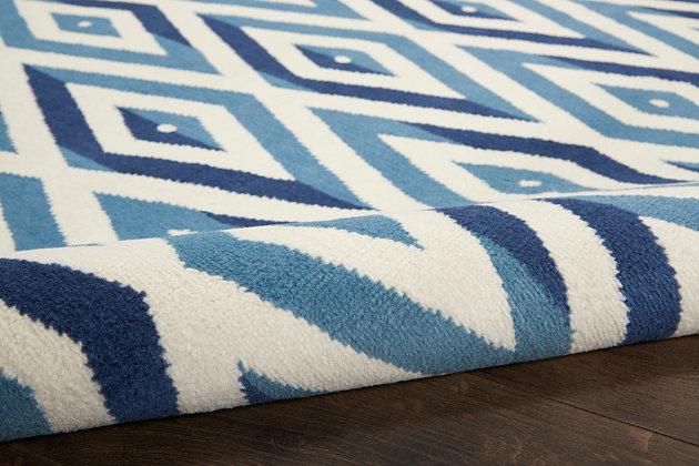 "Nourison Grafix 5'3"" X 7'3"" All-over Design Rug, White/Blue, large"