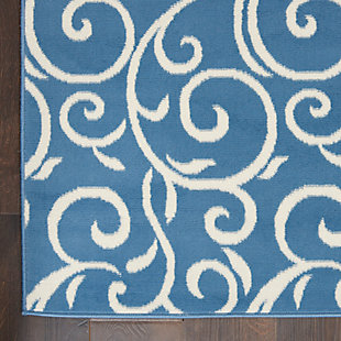 "Nourison Grafix 5'3"" x 7'3"" Botanical Rug, Blue, large"