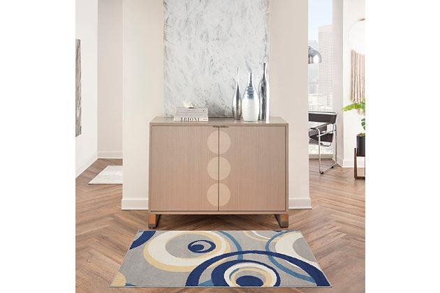 Nourison Grafix 3' X 5' All-over Design Rug, Gray, large