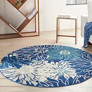 Nourison Passion 4' X Round Floral Rug, Navy/Ivory, large
