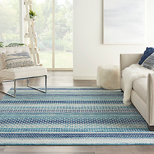 """Nourison Passion 6'7"""" x 9'6"""" Geometric Rug, Navy Blue, rollover"""