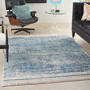 """Nourison Quarry 5'3"""" X 7'3"""" Abstract Rug, Blue, rollover"""