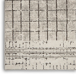 """Nourison Quarry 5'3"""" X 7'3"""" Abstract Rug, Ivory/Gray, large"""