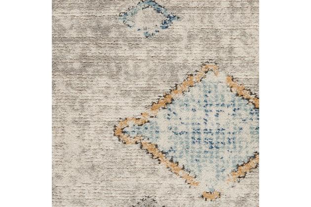 "Nourison Quarry 2'2"" X 7'6"" Bordered Rug, Ivory/Gray/Blue, large"