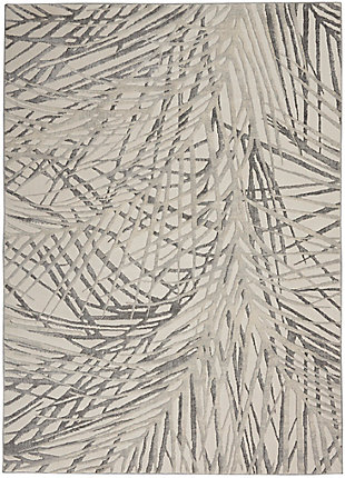 """Nourison Rustic Textures 5'3"""" x 7'3"""" Abstract Rug, Ivory/Gray, large"""