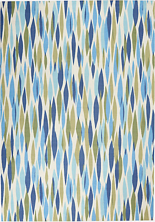 """Waverly Sun N' Shade 4'3"""" x 6'3"""" Abstract Outdoor Rug, Seaglass, large"""