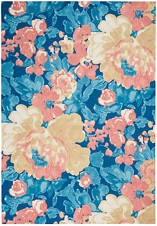 """Waverly Sun N' Shade 5'3"""" x 7'5"""" All-over Design Outdoor Rug, Blue, large"""