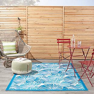 "Waverly Sun N' Shade 5'3"" x 7'5"" Botanical Outdoor Rug, Blue, rollover"