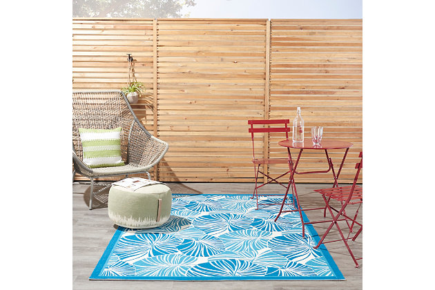 "Waverly Sun N' Shade 5'3"" x 7'5"" Botanical Outdoor Rug, Blue, large"