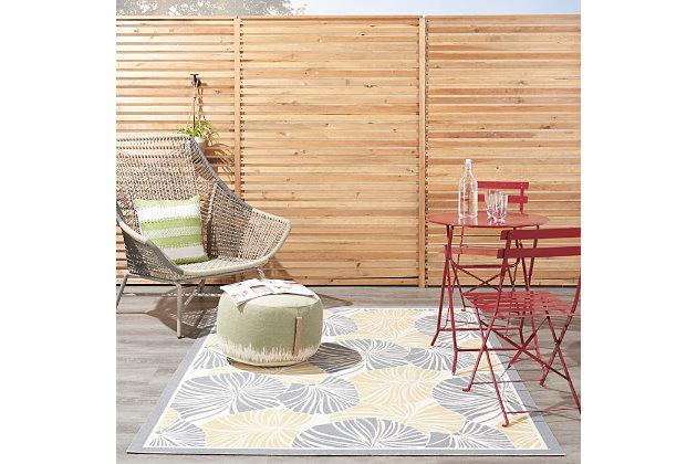 "Waverly Sun N' Shade 5'3"" x 7'5"" Botanical Outdoor Rug, Gray, large"