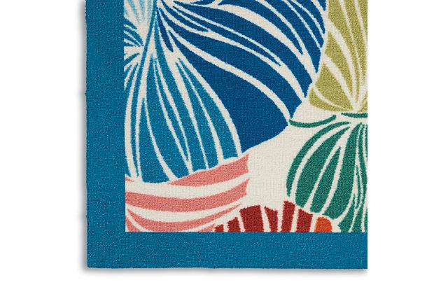 "Waverly Sun N' Shade 5'3"" x 7'5"" Botanical Outdoor Rug, Multi, large"