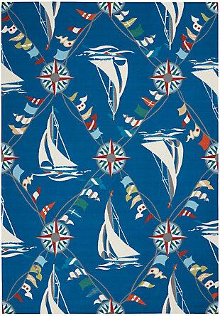 "Waverly Sun N' Shade 5'3"" x 7'5"" Nautical Outdoor Rug, Navy, large"
