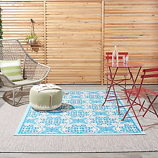 """Waverly Sun N' Shade 5'3"""" x 7'5"""" All-over Design Outdoor Rug, Blue, rollover"""