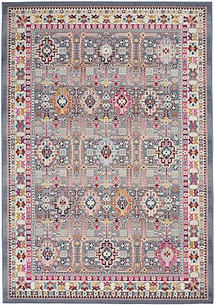 """Nourison Vintage Kashan 5'3"""" X 7'10"""" Bordered Rug, Gray/Multi, large"""