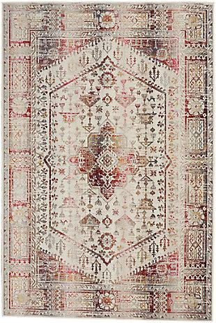"""Nourison Vintage Kashan 5'3"""" X 7'10"""" Bordered Rug, Ivory/Red, large"""