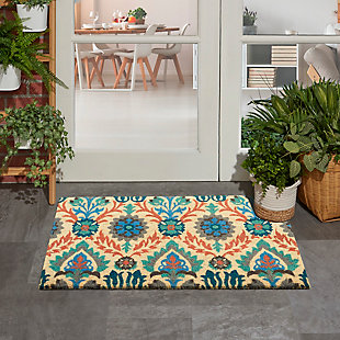 """Waverly Greetings 1'6"""" X 2'4"""" Rug, Blue, rollover"""