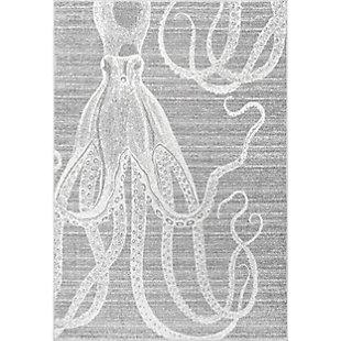 nuLOOM Thomas Paul Power Loomed Octopus 5' x 5' Rug, Gray, large