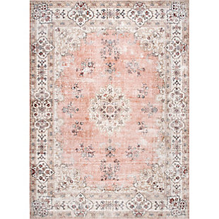 nuLOOM Ren Machine Washable Vintage Floral 5' x 8' Rug, Peach, large