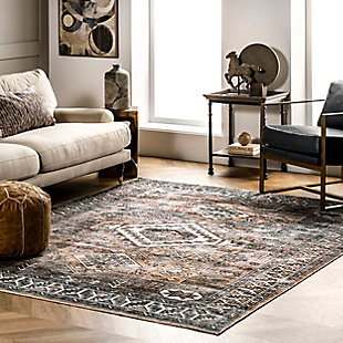 nuLOOM Bowie Machine Washable Tribal Pattern 5' x 8' Rug, Rust, rollover