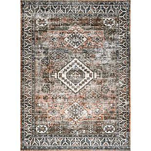 nuLOOM Bowie Machine Washable Tribal Pattern 5' x 8' Rug, Rust, large