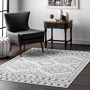 nuLOOM Noa Machine Tribal Moroccan Washable 5' x 8' Rug, White, rollover