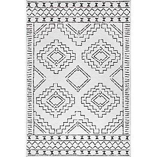 nuLOOM Noa Machine Tribal Moroccan Washable 5' x 8' Rug, White, large