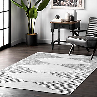 nuLOOM Romina Diamond Stripes Machine Washable 5' x 8' Rug, White, rollover