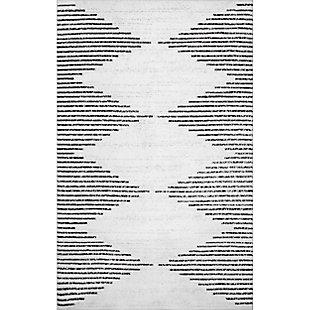nuLOOM Romina Diamond Stripes Machine Washable 5' x 8' Rug, White, large