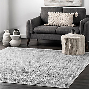 nuLOOM Hart Machine Washable Abstract Tribal 5' x 8' Rug, Gray, rollover