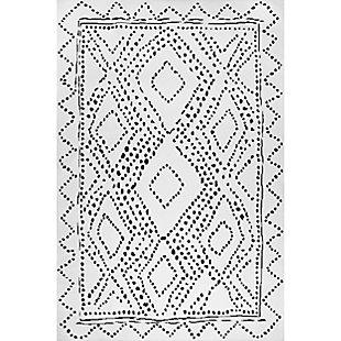 nuLOOM Mila Machine Washable Diamond Trellis 4' x 6' Rug, White, large
