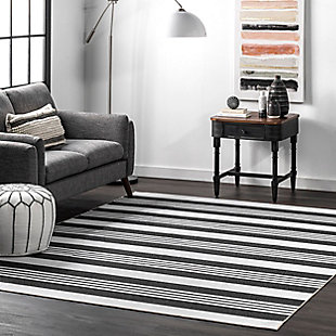 nuLOOM Lena Machine Washable Striped 5' x 8' Rug, Gray, rollover