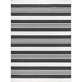 nuLOOM Lena Machine Washable Striped 5' x 8' Rug, Gray, large