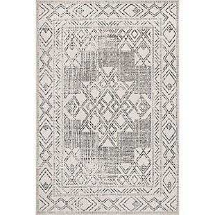 nuLOOM Mia Machine Washable Geometric Medallion 5' x 8' Rug, Light Gray, large