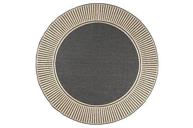 "nuLOOM Asha Simple Border Outdoor 6' 7"" x 6' 7"" Rug, Dark Gray, large"