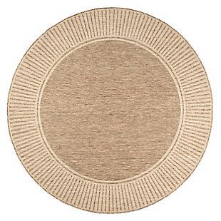 "nuLOOM Asha Simple Border Outdoor 6' 7"" x 6' 7"" Rug, Light Brown, large"