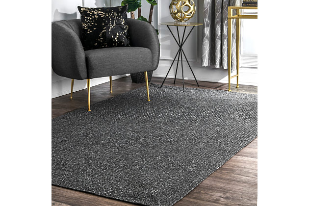 nuLOOM Braided Lefebvre Outdoor  4' x 4' Rug, Charcoal, large