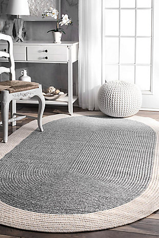 nuLOOM Braided Solid Border Delaine Outdoor 6' x 6' Rug, , rollover