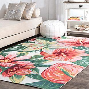 nuLOOM Contemporary Floral Sabrina 6' x 6' Rug, , rollover
