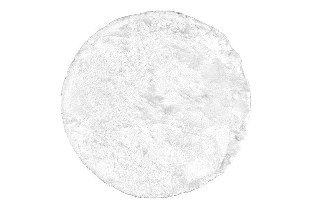 nuLOOM Hand Woven Latonia Silken Shaggy 6' x 6' Rug, Pearl White, large