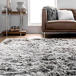 nuLOOM Hand Woven Latonia Silken Shaggy 6' x 6' Rug, Silver, large