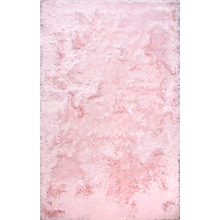 nuLOOM Hand Woven Latonia Silken Shaggy 6' x 9' Rug, Baby Pink, large