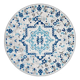 nuLOOM Contemporary Celestial Outdoor 6' x 6' Rug, Blue, large