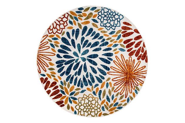nuLOOM Transitional Floret Outdoor 6' x 6' Rug, Multi, large