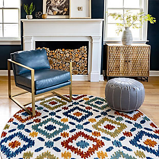 nuLOOM Transitional Labyrinth Outdoor 6' x 6' Rug, Multi, large