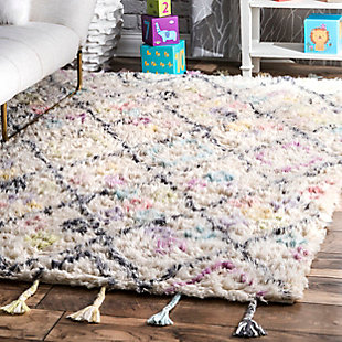 nuLOOM Handmade Moroccan Diamonds Annice 5' x 7' Rug, Off White, rollover