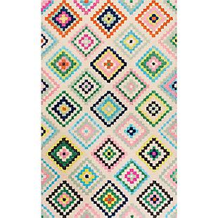 nuLOOM Hand Tufted Tribal Diamond Oval 5' x 7' Rug, Ivory, large