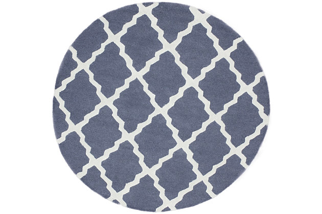 nuLOOM Hand Hooked Marrakech Trellis 6' x 6' Rug, Blue Gray, large